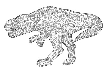 Hand drawn art for coloring book with tyrrannosaur