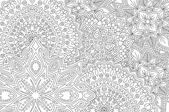 Line art for coloring book with abstract pattern