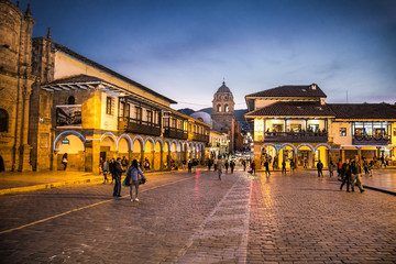 Historic Colonial Buildings on the Plaza de Armas Square with Many Visitor at Night, Cusco, Peru, South America,