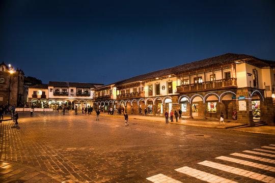 Historic Colonial Buildings on the Plaza de Armas Square with Many Visitor at Night, Cusco, Peru, South America