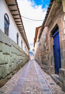 Historic Colonial Buildings in Hatun Rumiyoc street , Cusco,  Peru.