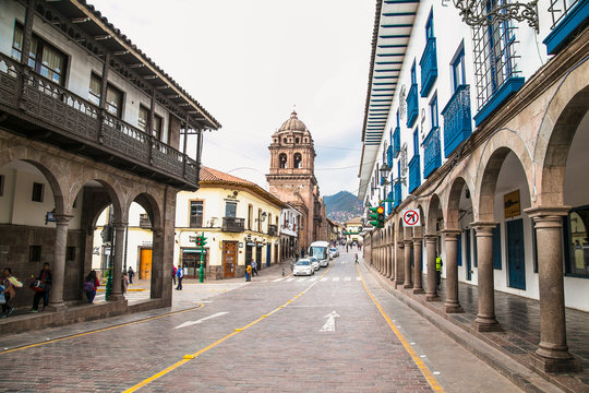 Historic Colonial Buildings in ancient streets of Cusco, , Peru