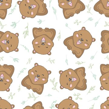 Seamless pattern with groundhog and animal's footprint. Vector illustration