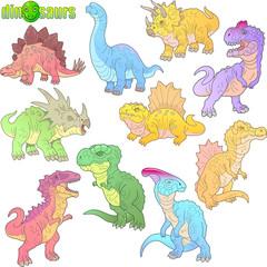 cartoon ancient prehistoric dinosaurs, set of images, funny illustrations