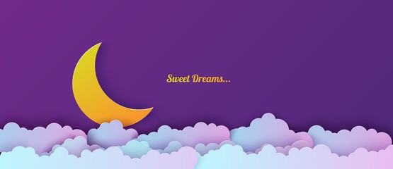 Poster Violet Night sky in paper cut style. Cut out 3d background with violet and blue gradient cloudy landscape with moon papercut art. Cute origami clouds. Vector card for wish good night sweet dreams.