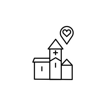 wedding venue, church line icon. Elements of valentines day illustration icons. Signs, symbols can be used for web, logo, mobile app, UI, UX