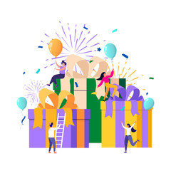 Group of happy people receive gift boxes. Online reward concept, can be used for referral programs, landing page, template, user interface, website, poster, banner, flyer, coupon. Vector flat design