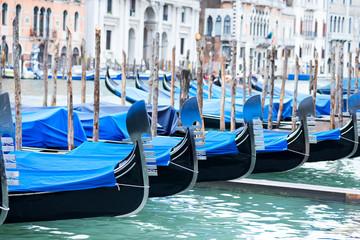 Cadres-photo bureau Venice Gondolas moored by Saint Mark square with San Giorgio di Maggiore church in Venice, Italy,