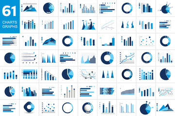 Mega set of charst, graphs. Blue color. Infographics business elements. Fototapete