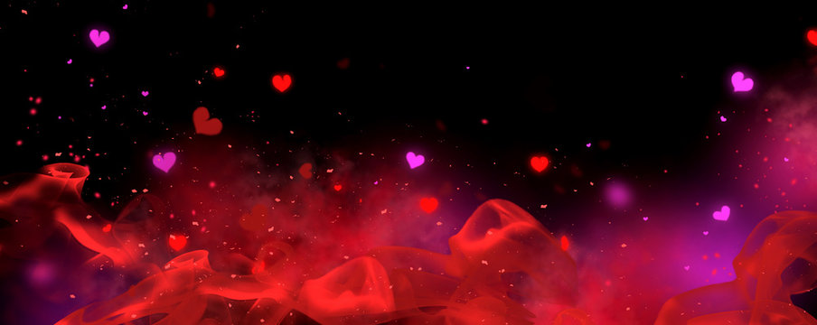 Valentine's Day red and black Background. Holiday Blinking Abstract Valentine Backdrop with Glowing Hearts. Heart Shape Bokeh. Love concept. Valentines art vivid design. Romantic wide screen banner