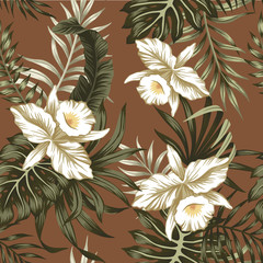 Tropical vintage green floral palm leaves white orchid flower seamless pattern brown background. Exotic jungle wallpaper.