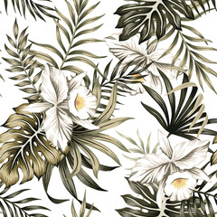 Tropical vintage white orchid flower, palm leaves floral seamless pattern white background. Exotic jungle wallpaper.