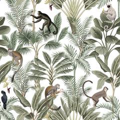 Tropical vintage monkey, sloth, black bird, palm trees, banana tree floral seamless pattern white background. Exotic jungle wallpaper.