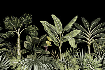 Tropical night vintage palm tree, banana tree and plant floral seamless border black background. Exotic dark jungle wallpaper.