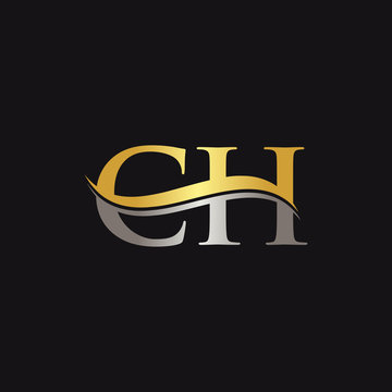 Initial Gold And Silver letter CH Logo Design with black Background. CH Logo Design.