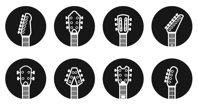 Vector guitar headstock dark buttons. To see the other vector guitar illustrations , please check Guitars collection.