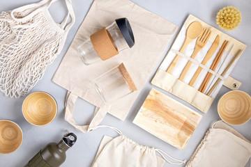 Zero waste kit. Set of eco friendly bamboo cutlery, mesh cotton bag, reusable coffee tumbler and...