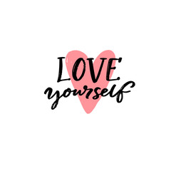 Photo Blinds Positive Typography Love yourself. Positive quote about self acceptance. Handwritten slogan for cards, journals and posters. Black text and pink hand drawn heart