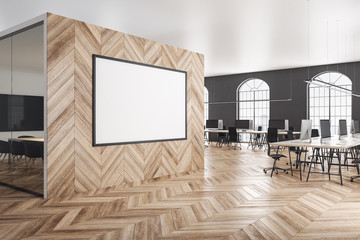 Wooden coworking office with blank poster
