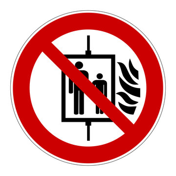 Do not use lift in case of fire sign