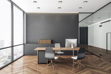 Obraz Minimalistic concrete coworking office interior - fototapety do salonu