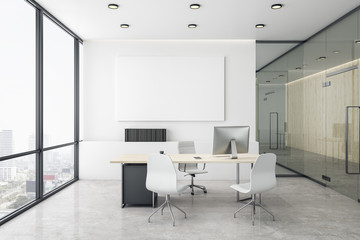 Modern coworking office interior with empty banner