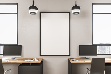 Modern white office with poster.