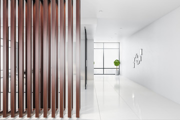 Contemporary empty office interior with abstract wooden wall
