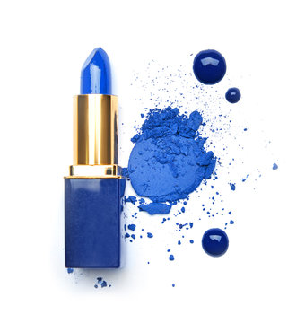 Blue makeup cosmetics on white background