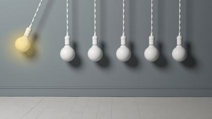 light bulb as pendulum is hitting other lightbulbs like in a newton cradle - 3D rendered illustration