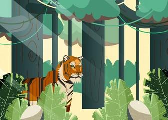 Fotobehang Khaki Jungle Vector Trees Tiger