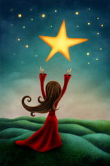 Girl reaching for a star