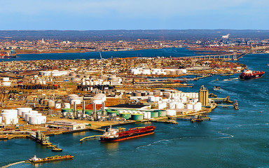Aerial view of Dry Dock and Repair and Port Newark and Global international shipping containers,...