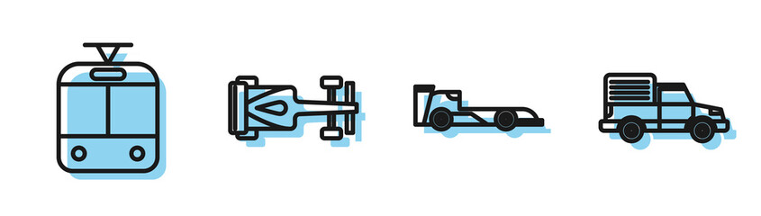 Door stickers F1 Set line Formula race car, Tram and railway, Formula race car and Delivery cargo truck vehicle icon. Vector