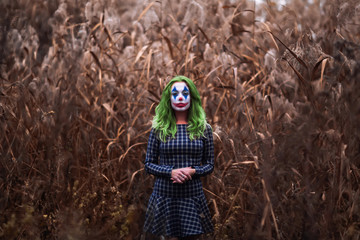 Portrait of a greenhaired girl with joker makeup on a orange leaves background.