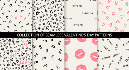 Set of 8 elegant seamless patterns with hand drawn decorative hearts, design elements. Romantic patterns for wedding invitations, greeting cards, scrapbooking, print, gift wrap. Valentines day Fototapete