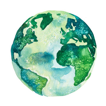 Earth planet. View of America and Africa drawn in green colors