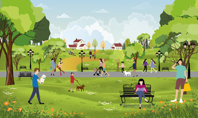 Morning city park with girl walking the dog, young boy talking on phone, women sitting on bench reading a book,City lifestyle of people in Summer time Wall mural