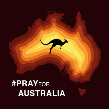Australia fire. Social poster about climte cataclysm. Kangaroo runs from the fire on a background of the map of Australia. Vector stock illustration.