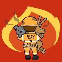 Pray for Australia fireman save koala and kangaroo cartoon vector illustration