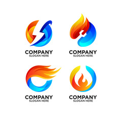 set collection colorful fire and ice logo