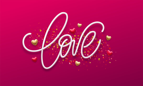 Calligraphic lettering Love. Happy Valentines day concept on a background of golden confetti. Vector illustration