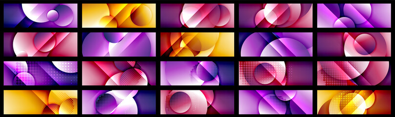 Mega collection of dynamic trendy geometrical abstract backgrounds. Circles, round shapes 3d shadow effects and fluid gradients. Modern overlapping round forms Fototapete