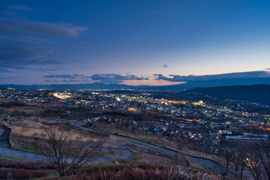 長野県 飯綱山公園からの夜景