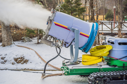Snowmaking or cannon at the park. Snow machine produce snow for ski resort. Snow cannon during snowmaking slope