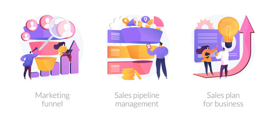 Customer engagement. Sales conversions and traffic increase strategies. Marketing funnel, sales pipeline management, sales plan for business metaphors. Vector isolated concept metaphor illustrations. Fotomurales