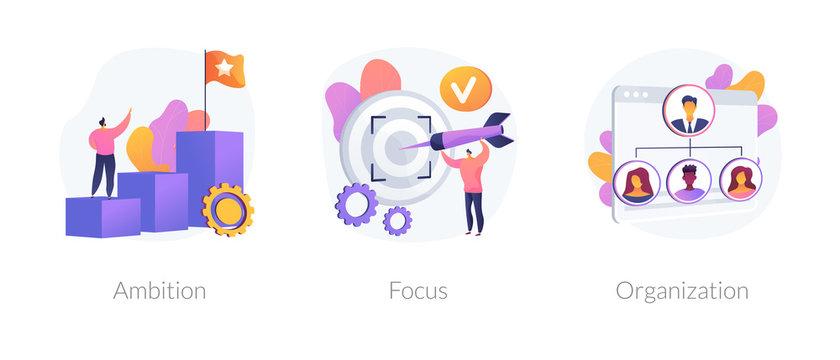 Business determination and development. Self improvement, marketing target, corporate management. Ambition, focus, organization metaphors. Vector isolated concept metaphor illustrations.