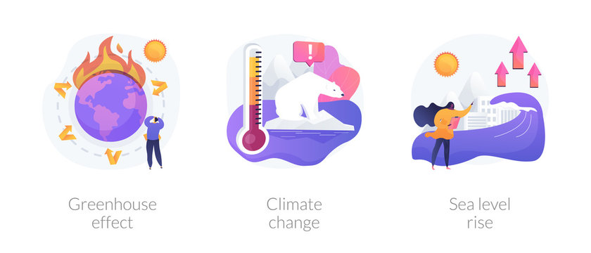 Greenhouse effect, climate change, sea level rise. Global warming effect. Ultraviolet radiation, food contamination, acid rain metaphors. Vector isolated concept metaphor illustrations.