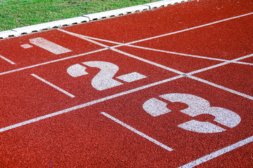 Athletic running track for running race. Sport and excercise concept.