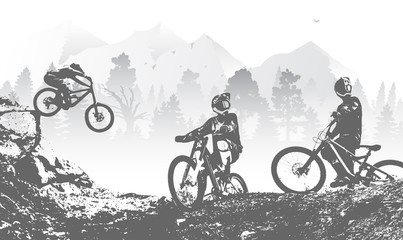 Downhill mountai biking freeride and enduro illustration. Bicycle background with silhouette of downhill riders in mountain. Wall mural